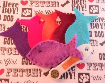 Handmade,Fish, mustache, felt cat toy, Organic catnip, sold in set, cat toy