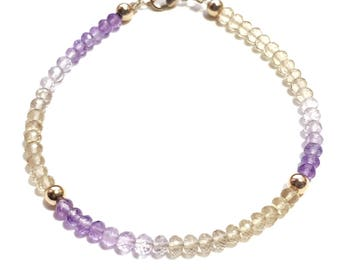 Ombre Ametrine and 9ct Gold Bracelet