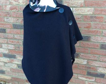Navy boiled wool poncho.