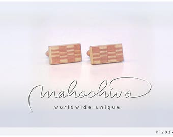 wooden cuff links wood flamed maple maple handmade unique exclusive limited jewelry - mahoshiva k 2017-47