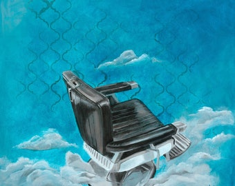 Art print - vintage barber chair