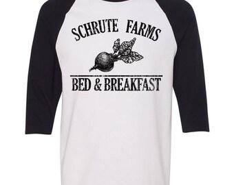 Schrute Farms Shirt. Schrute Farms Raglan Baseball T-Shirt. The Office Shirt. Dwight Schrute. The Office Merch. Dunder Mifflin Inc Shirt.