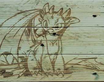 Toothless, Laser engraved onto upcycled pallet wood.
