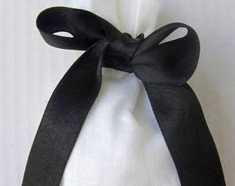 100 white linen bags black ribbon string pouches in natural white linen set of 100 linen purses mini bags weddings events