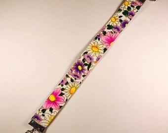 Leather floral bracelet, Leather bracelet, Floral bracelet