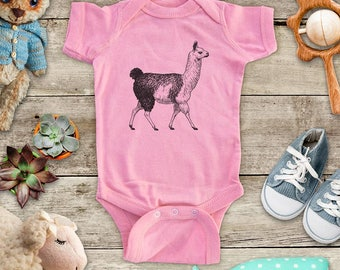 Llama walking graphic Zoo animal wild kingdom Shirt - Baby bodysuit Toddler youth Shirt cute birthday baby shower gift