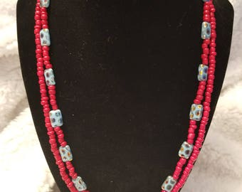 Turquoise Czech glass and red glass beaded necklace