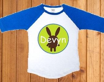 Baby boy Easter bunny personalized baseball tee