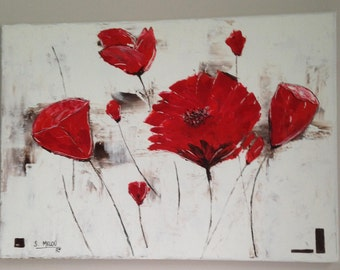 """Art modern painting """"Flowers"""" - on canvas mounted on frame wood"""