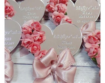10 Heart Acrylic Glass Magnet Wedding Favors - Save the Date- Laser Engraved Personalized Favors- Romantic Favors-  Gold Silver