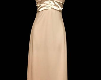 90s Cream Satin and Chiffon Evening Gown   LV 0075