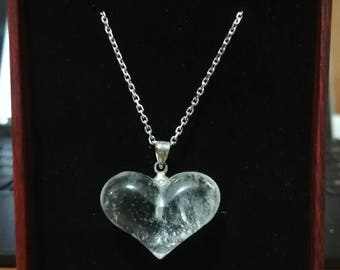Quartz Necklace - Natural Stone - Silver Chain - Quartz Heart Necklace