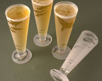 Set of Four Shark Pilsner Beer Glasses - permanently frosted with images of the ocean's most feared hunter.