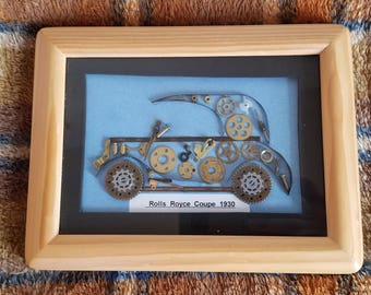 Framed 1930 Rolls Royce Coupe Made With Recycled Clock and Watch Parts