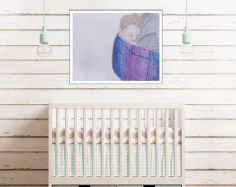 Keep Them Close Print, Fine Art Print, Watercolor Print, Mother's Day Gift, Nursery Decor, Babywearing Gift, Babywearing Portrait