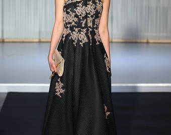 black dress lace hand made black strapless cocktail dress