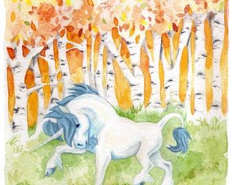 Unicorn Wood - Giclee print of original watercolour