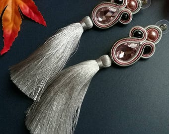 Pale Pink Crystal Soutache Earrings Statement Earrings Ethnic Boho Chic Long GrayTassel Earrings