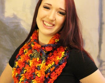 Rainbow Cowl with Butterfly Button