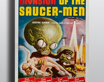 Invasion of the Saucer-Men - Horror Sci-Fi Movie Vintage Poster Print