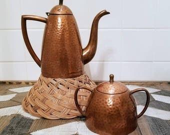 Arts & Crafts Hammered Copper Kettle w/ Sugar Bowl