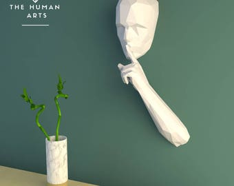 Paper trophy, Papercraft human, paper craft sculpture, 3D papercraft model, papercraft pattern, diy paper 3d papercraft, pdf skull, low poly