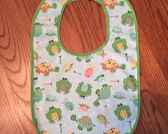 Turtles & Frogs Infant Bib