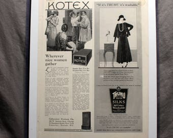Vintage Kotex, Truhu Silk Stockings advertisement 1930's Vogue Matted and framed 14inx11.5in Backside wall hanger makes for instant display