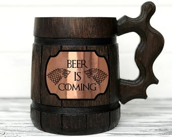 BEER IS COMING Mug. House Stark Mug. Game Of Thrones Gift. Beer Steins. Winter is Coming. Personalized Gift. Wooden Beer Tankard Gift #92