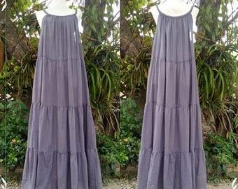 Free shipping/Dark gray maxi dress/Boho/Long dress/Casual dress/ Hand-made/ Made to order/Loose dress/Plus Size S-5XL