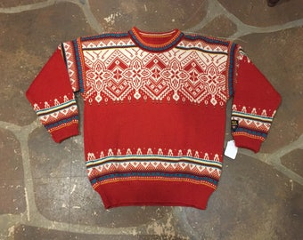 Dale of Norway red wool Nordic sweater