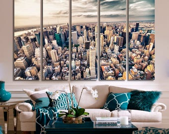Midtown Manhattan, NYC Skyline Aerial View Canvas Print - 3 Panel Split New York City Photography for Wall Decor and Interior Design