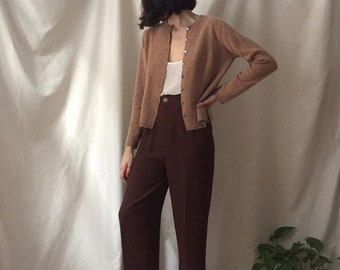 Vintage Dusty Rose 100% Cashmere Cardigan with Shell Buttons