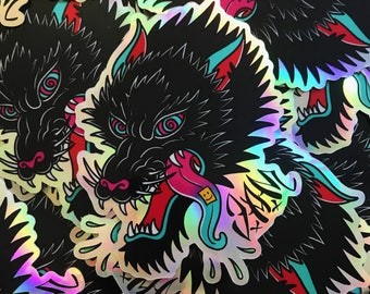 """Holographic acid wolf stickers 3"""" x 3.9"""""""