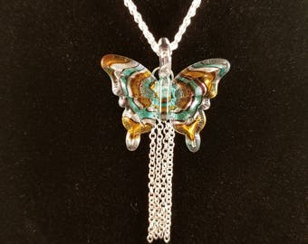 Glass Butterfly Necklace on Silver Plated Chain One Of A Kind