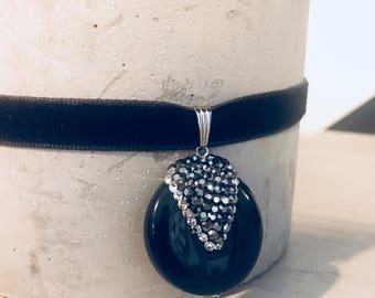 Black Agate Pendant with Swarovski Crystals on Velvet Choker