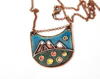 Cloisonne enamel  pendant, Mountain landscape Enameled Copper Necklace  Metalwork Jewelry, landscape Jewelry,  Nature Jewelry, Free shipping