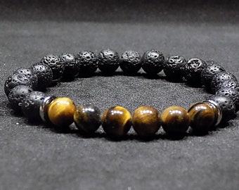 Mens bracelet, lava stone