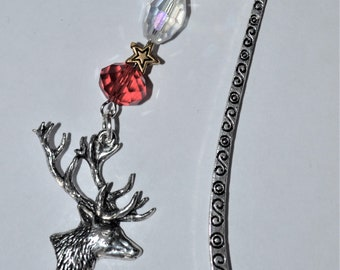 Stag's Head Bead Bookmark in English Pewter and Gift Boxed, Animal, Countryside, Wildlife