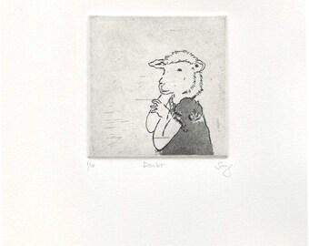 "Intaglio Print - ""doubt"""