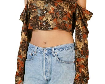 "Redesigned Vintage ""Styled in California"" Top Cold Shoulder Crop"