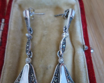 A pair of vintage art deco 925 silver, marcasite and mother of pearl earrings