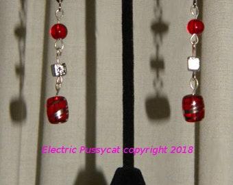 Red and Silver Earrings, Glass Beads, Boho Earrings, Drop Earrings, Dangle Earrings
