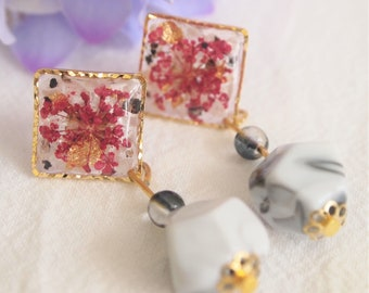 Purple Gypsophila with marble bead earrings, pressed flower and UV resin, jewelry, dried flower