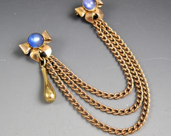 Double Pin Vintage Gold Tone Bow Lapel Pins Blue Glass with Triple Curb Chains