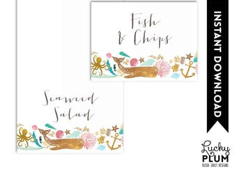 Whale Food Tent Card / Nautical Food Tent Card / Whale Place Card / Ocean Place Card / Name Tag / Pink Blue *Digital Printable WH03