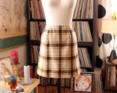 """vintage 1970s plaid wool mini skirt by Young Pendleton, womens xs - 23"""" waist"""