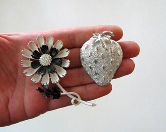 2 vintage brooches - silver strawberry brooch by Sarah Coventry + enamel flower pin signed ART . black white enamel flower brooch, dandelion