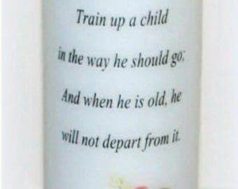 Fathers train up a child, Father's Day candle keepsake, personalized or custom everlasting designed candle gift for dad under the wax