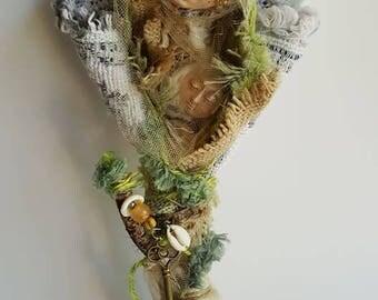 Dream Walker, Talking Stick, Spirit of wisdom, Art Doll, Ethnic Art, ooak Art Figure, Altar Decor, engagement gift, bridesmaid, bride gift